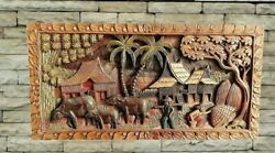 Hand Carved Wall Panel, Intricate Wood Art Carving, Thai Carved Teak Wall Plaque
