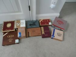 Lot Of 10 Vintage Cigar Boxes Brick House Cao Flathead And More