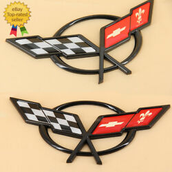 For 1997-2004 C5 Corvette Gm Front And Rear Bumper Cross Flags Emblems Badge
