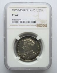 New Zealand 1935 Half Crown 2/6 Ngc Proof 67 None Graded Higher Mintage 364