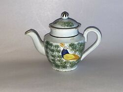 Staffordshire Pearlware Spatter Childs Miniature Teapot With Peafowl Ca. 1830