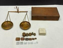 Vintage Antique Balance Gold Scales W/ Weights Germany Dovetail Wood Box