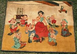 1950's Vintage Walt Disney - Snow White And The Seven Dwarf's Rare Wall / Rug