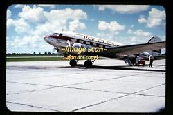 Western Airlines Douglas Dc-3 Aircraft In Mid 1950and039s Kodachrome Slide H3a