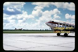 Western Airlines N33644 Douglas Dc-3 Aircraft In Mid 1950s Kodachrome Slide H3a