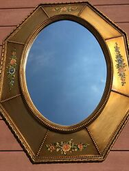 Turner Wall Accessory Octagon Framed Oval Wall Mirror Floral Accents 27 X 34