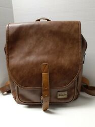 Zebella Unisex Faux Leather Brown School College Backpack $23.99