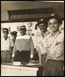 Vintage Cuban Excellence Times Happy Esso Gas Station Workers 1950s Photo Y 170