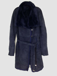 6450 Christia Womenand039s Blue Shearling Lamb Stroller Real Fur Jacket Coat Size M