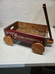 Rare Vtg Royal Crown Rc Cola Red Wooden Crate Soda Pop 1a Wagon