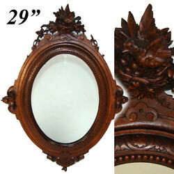 Antique French Black Forest Style Carved Walnut 28.75 Wall Mirror, Frame, Bird