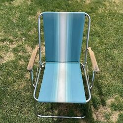 Vintage Aluminum Folding Lawn Chairs Blue/white Lightweight