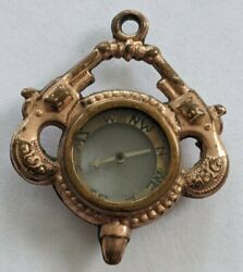 Antique Victorian Gold Filled Double Sided Compass Watch Fob With Guns