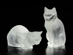 Pair Of Lalique Crystal Sitting And Crouching Cat Figurines. France, C. 1970.