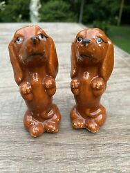 Vintage Salt And Pepper Shakers Dogs Dachshund Standing Red Ceramic Japan And