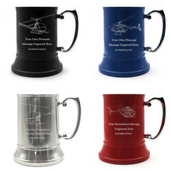 Personalised Engraved Helicopter Tankard Pilot Aviation Birthday Wedding Gift