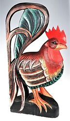 BIG Rooster Chicken Carved Painted Wood Primitive Folk Art Country Farm Decor LG