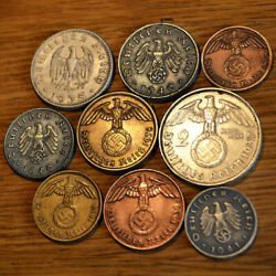 9 Nazi Coins 1935-1945 In Great Condition German Third Reich. Lot Ww2