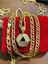 22k 916 Fine Real Uae Gold Mens Womenandrsquos Triangle Necklace 22andrdquo Long 6mm 20.10gram