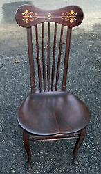 Antique Mother-of-pearl Inlaid Windsor Side Chair Spindle Back Saddle Mahogany
