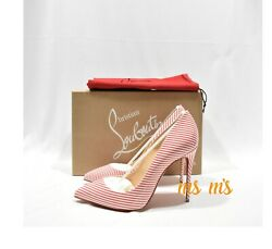 Nib Christian Louboutin Pigalle Follies 100mm Red Striped Candy Pumps Heels