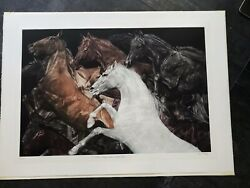 G.h Rothe While They Were Running Horse Mezzotint Etching Hand Signed Framed