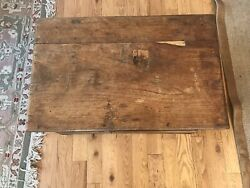 Antique 1800's Walnut And Metal Mounted Wood Chest Trunk