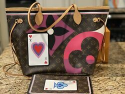 Authentic New Louis Vuitton Game On Neverfull Mm Monogram With Pouch