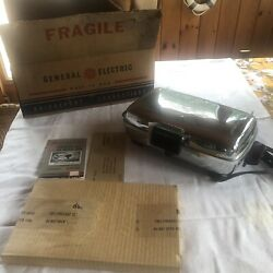 Vintage General Electric Table Top Chrome Waffle Sandwich Grill Iron