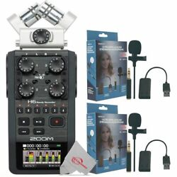 Zoom H6 All Black 6-track Portable Recorder With 2pcs Mini Lavalier Microphone