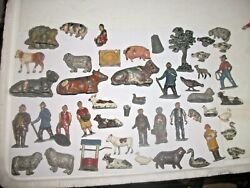 Lead Farm Animals People Tree Stoop A Few Britains And English Fok Art Scale