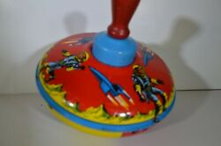 Rare Antique Bryan Ohio Art Co Spinning Tin Toy Top Rockets 1950s Space