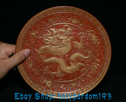 8 Qianlong Marked Good China Red Gold Porcelain Dragon Tray Plate Dish