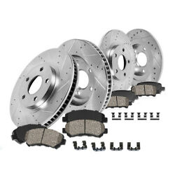 Front And Rear Drill Slot Brake Rotors And Ceramic Pads For 05 Impala 05 Monte Carlo