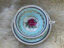 Pre-owned Paragon Baby Blue Teacup And Saucer With Red Rose Double Warrant
