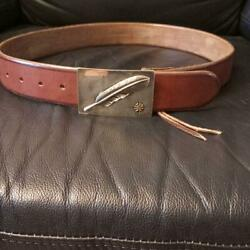 Goro's Men's Buckle Belt Feather Pattern Length 112 Cm Material Leather Used