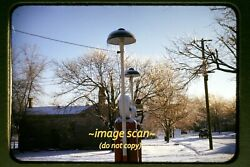 Mobil Gas Station Pumps In Dayton, Indiana In Early 1950's, Original Slide H7a
