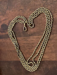"""Antique 9ct Yellow Gold 58"""" Muff Guard Chain Necklace Weighs 31.95grams"""