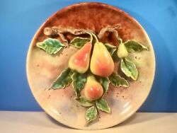 Wall Platter Antique French Majolica Palissy Pears And Flowers Wall Plaque