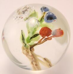 Paul Stankard Art Glass Paperweight Multi-colored Flowers Neagc New Orleans 1995