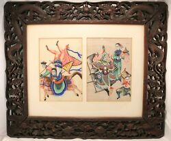 19th Century Chinese Two Pith Rice Paper Watercolors On Carved Dragons Frame
