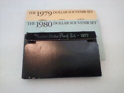 1977 Us Proof Set And 1979-1980 Dollar Souvenir Sets With Coa's