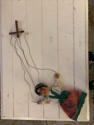 Vintage Mexican Folk Art Ceramic Marionette String Puppet Woman In Dress