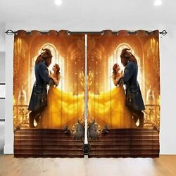 Beauty And The Beast 2pcs Thermal Curtain Panel Living Room Curtain Drapes Decor