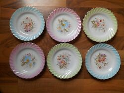 Old Vintage Set 6 6 Snack Plates Flowers Floral Blue Pink Green China Beautiful