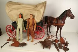 Marx Johnny West Covered Wagon With Horse And Harness Geronimo Action Figure