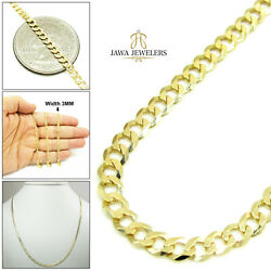 14k Yellow Gold Mens Womens 3mm Cuban Curb Link Chain Necklace 16-30 Inches