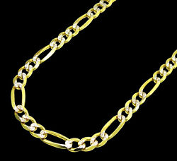 14k Yellow Gold 6.5mm Pave Diamond Cut Figaro Link Chain Necklace 18- 28