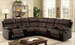 Modern Reclining Motion Sectional Cup Holder Brown Black Plush Cushion Console
