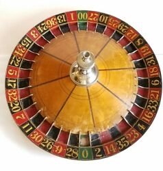 Vintage 1940and039s 1950and039s Wood Roulette Wheel 23 Across